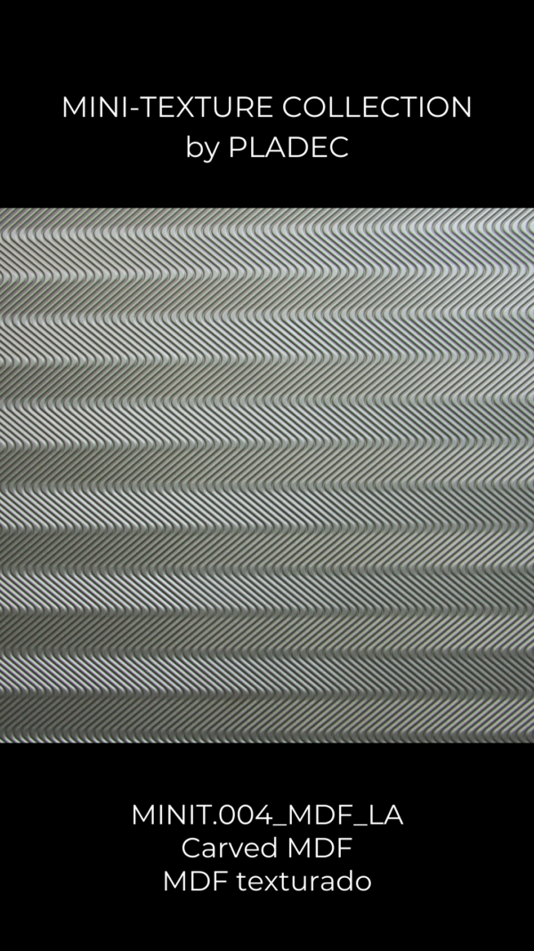 A CNC machined, MDF-wood pattern with a wavy texture. This panel is composed of simple lines, closed by each other, that create an amazing wood pattern.