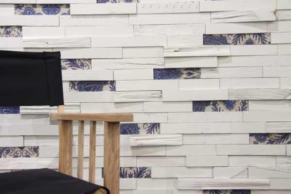 White wood and Blue textile patterns for wall application