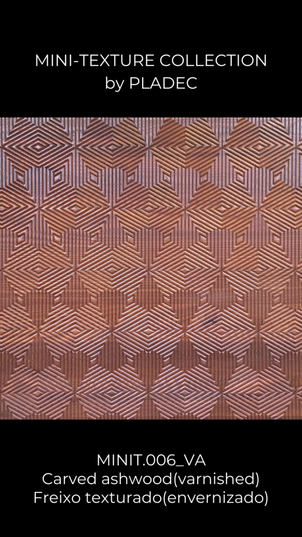 A wood pattern, made from ash-wood. This design almost looks like inverted arrows that point towards the same size, repeated throughout the panel.