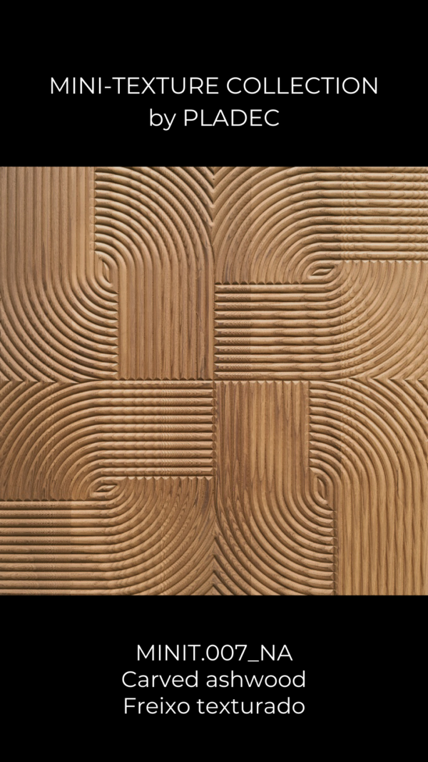 A CNC carved, ash-wood pattern. This pattern looks like a swirl seen from above. Each line follows a curved to straight path, as each line starts in a straight arrow which is then bent down towards a completely curved, teardrop shaped bit.