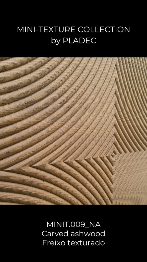 """A carved MDF design, with a engraved wood pattern. This pattern plays with shadows, as each curve is slightly enhance by a opposite direction carving. This way , some of the details won't be seen during some parts of the day, or they can be """"controlled"""" through simple lighting."""