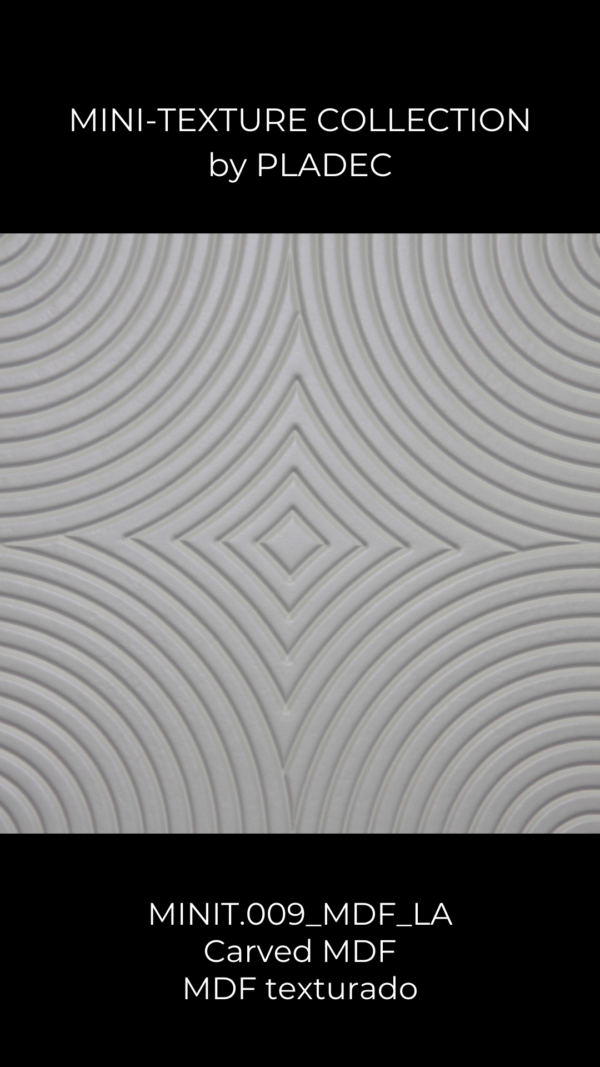 A carved board, made from MDF. This wood pattern features a central line that expands itself throughout the panel, becoming slightly more curved on each place.