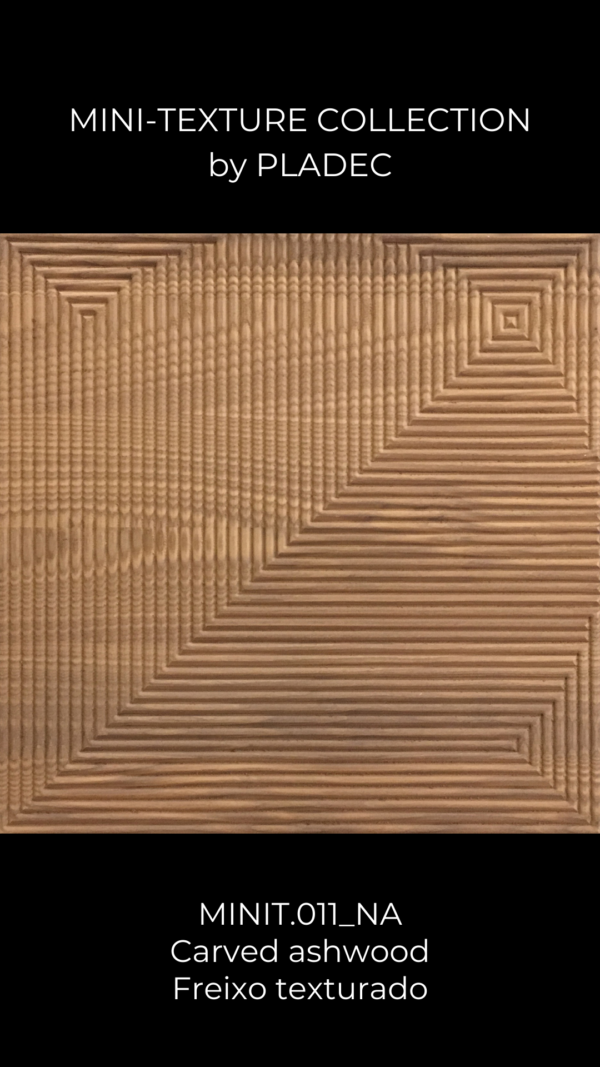 A simple ash-wood pattern, composed of simple lines that end on the corner of the panel. At this corner, each line bends towards opposite sides, creating a beautiful effect that reminds of a shooting star.