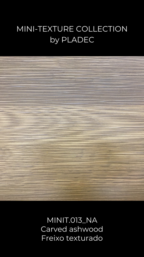 A subtle carved panel with a wood pattern.