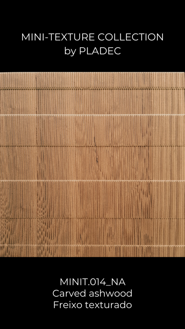 A subtly carved ash-wood panel that creates a different wood pattern according to different lighting systems. Carved horizontally and vertically, this panel is perfect to create clear contrasts and to hide elements in the room.