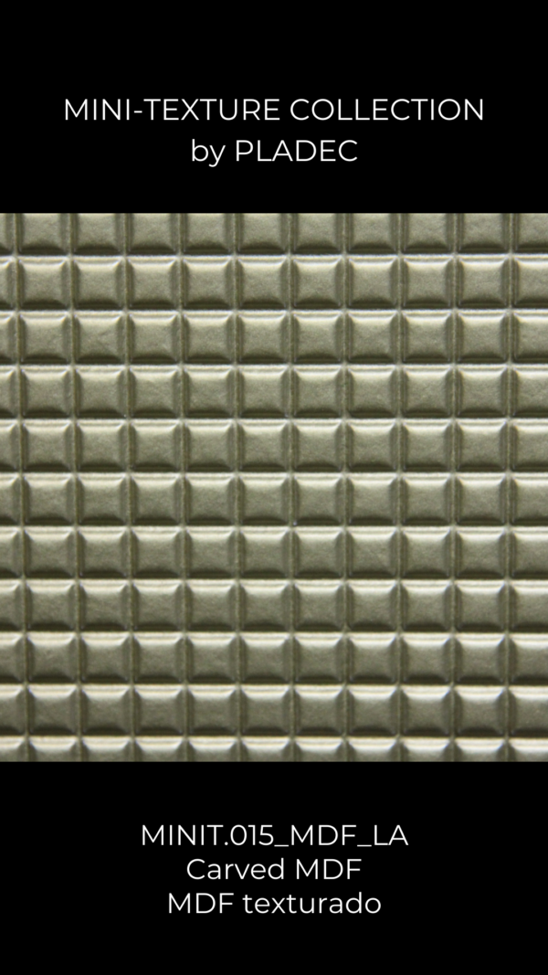 A carved MDF pattern with a simple pattern: cubes. Each cube is carved with a slight texture, acreating a different game of shadows.