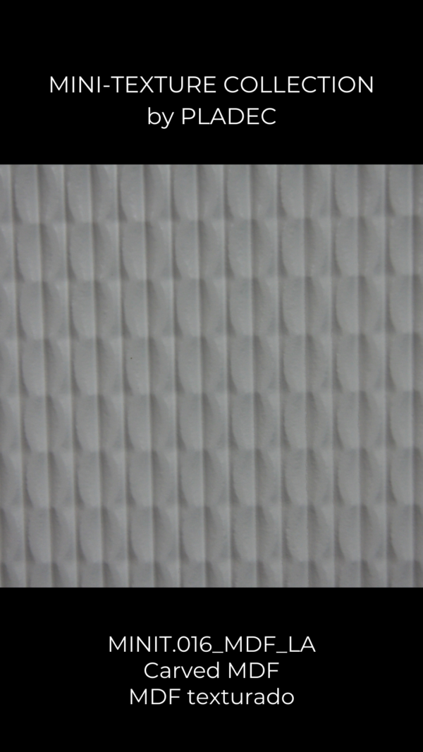 A small, textured wood pattern on MDF. This MDF board is painted white.