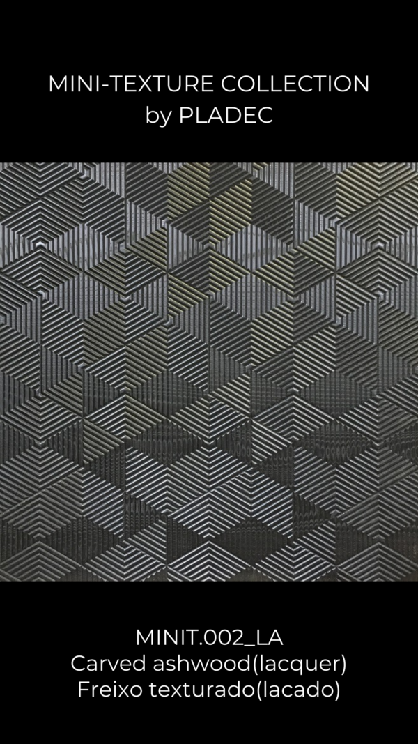 A dark-painted, MDF alternative to the mini-texture ash-wood pattern. This wood pattern is created using any color-MDF, and then each line is lacquered with black paint. Direction of each line can be displayed verticaly and horizontally, which creates an amazing game of shadows.