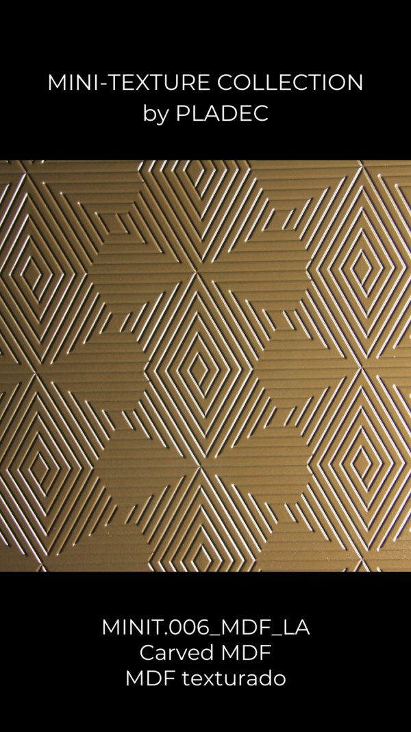 A carved MDF design. Each arrow has an opposite pointed arrow, creating a symmetrical but beautiful panel, that makes use of unusual wood patterns.