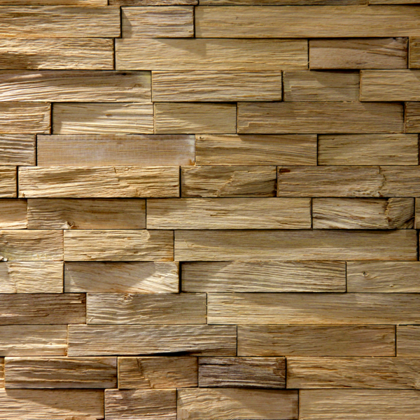 An accent wall made from natural raw wood, mixing simple strips.