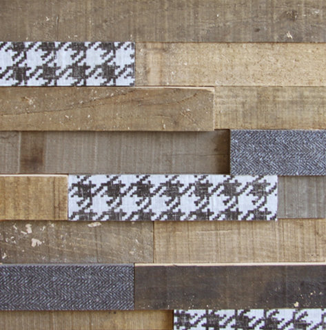 Wood and printed fabric
