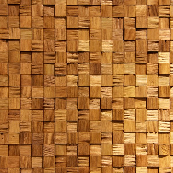 An accent wall made from natural raw wood with simple squares, applied on a MDF board.