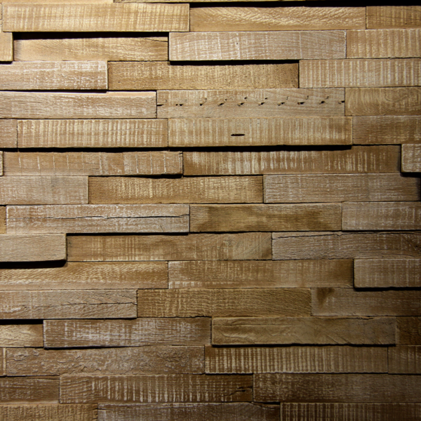 A thin strips surfacing solution for interior wall cladding. These panels use simple, raw wood arranged in different patterns and heights to create a different moving sensation.