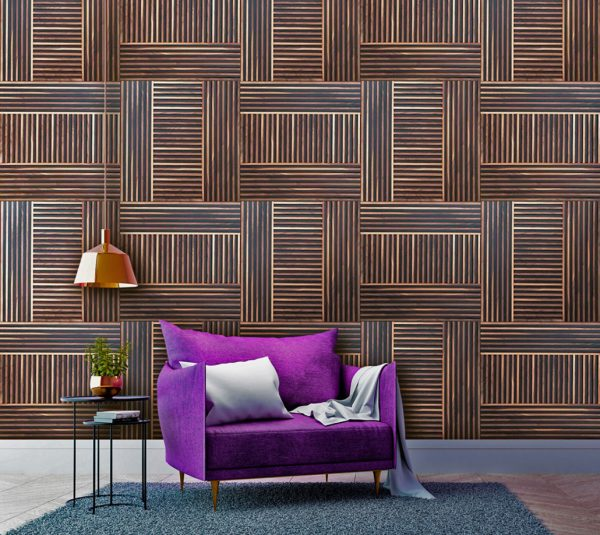 A decorative slat wood panels environment, with a purple chair on the front. The panels on the back are made from walnut wood, which is arranged up and down in multiple patterns.