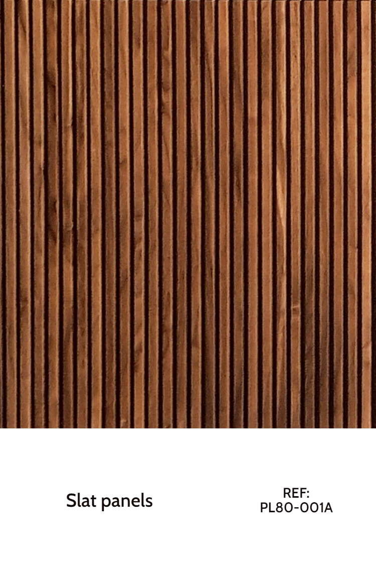 A vertical slat wood panel, arranged with walnut strips. Each strip is placed next to each other, and only a small seam shows up between them. The layout of each strip is vertical.
