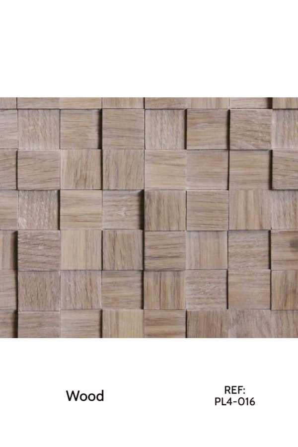 Wood cubes, re-arranged on a MDF board for a great accent wall or other sorts of interior cladding.