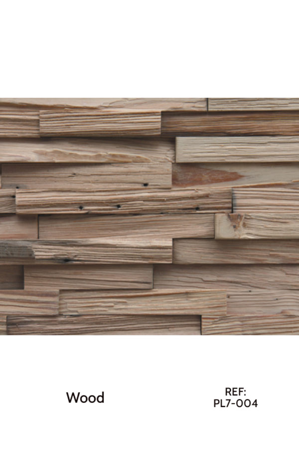 A thin strips surfacing solution for interior wall cladding. These panels use simple, raw wood arranged in different patterns and heights to create a different feeling.