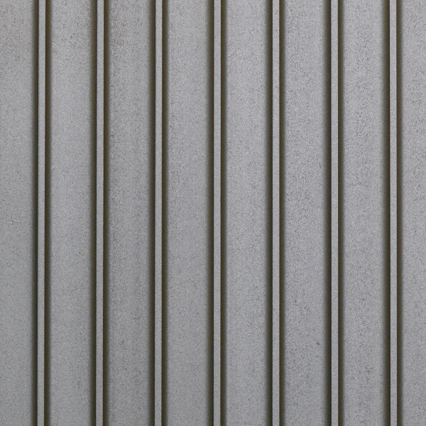 A carved MDF panel with simple lines with a flat space in the middle. Painted in gray.