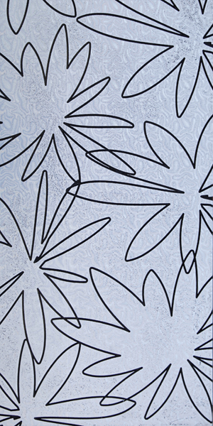 A carved MDF design with leaf-like carved elements. Silver finish.
