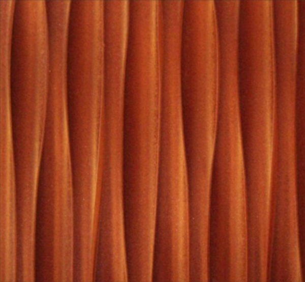 An orange wavy texture, made with CNC machines for a unusual texture.