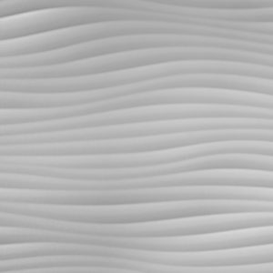 A white carved wood panel with a wavy texture.