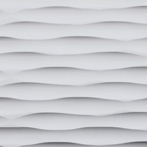 Carved wood panels made from MDF and painted in white, with a wavy surface on the front.