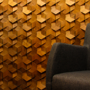 origami walnut covering wall panel