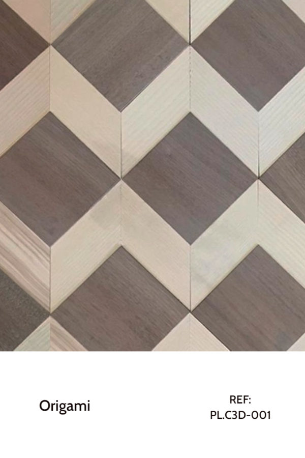 The PL.C3D_001 is a reference of the Origami Collection that uses wood geometry and contrasts to create a mesmerizing piece. A decorative wood panel design for application on walls, with custom-made fabrication. Composed of simple squares and arrows that fit seamlessly.