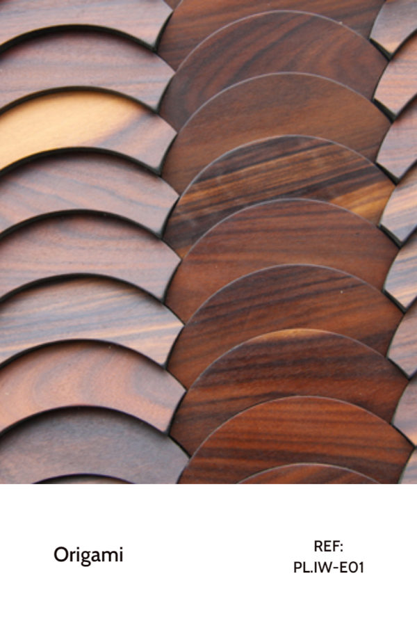 The PL.IW-E01 is a decorative wood panel design for application on walls. Making use of a seamless round shape in each piece, this design feels like a continuous motion, enable on any wall of any project. Plus, the Iron wood finish veneer adds a classic and stylish touch.