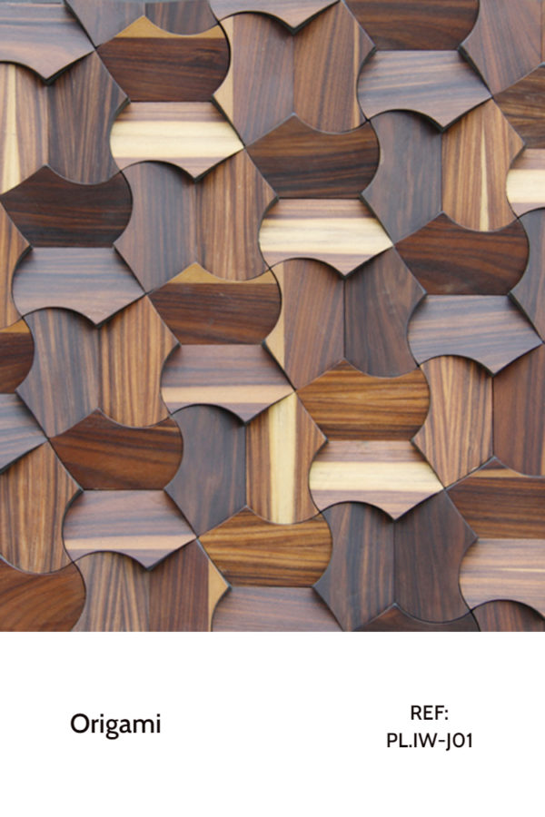 The PL.IW-J01 is a design that uses unusual shapes that integrate themselves with eachother, creating a seamless pattern with a bright contrast between the different iron wood tonalities. This is a decorative wood panel design for application on walls.