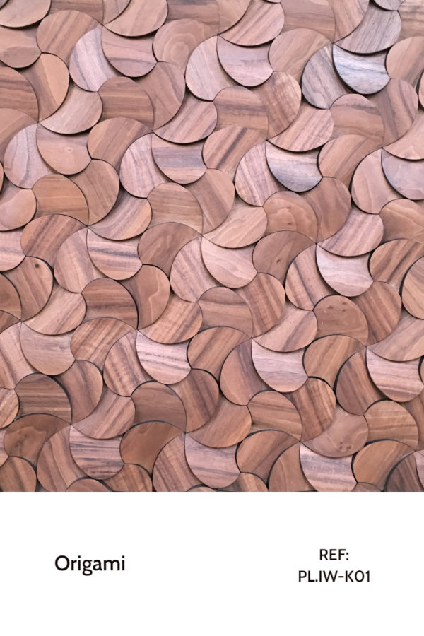The PL.IW-K01 is a design that uses nature-inspired individual pieces that, when arranged together , form a pattern that resemble flowers and, therefore, creating a sort of full garden on a wall. This decorative wood panel design is meant for application on walls, with custom-made boards.