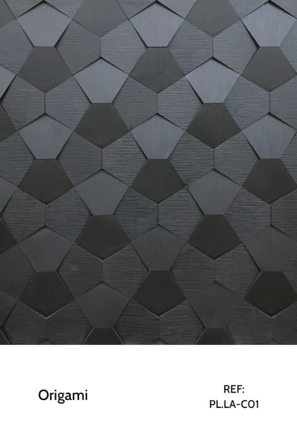The PL.LA-C01 is a reference that uses a black laminate in a pentagonal shape to create amazing interiors. A decorative wood panel design for application on walls.