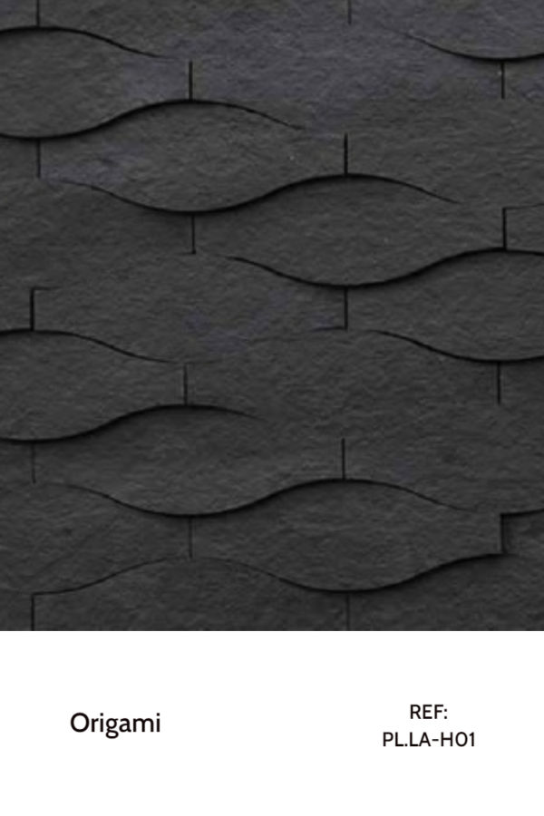 The PL.LA-H01 is a design that belongs to the Origami Collection. Using simple pieces with round, soft shapes, this piece creates a sensation of motion and smoothness, enhanced by the monotone black color. A decorative wood panel design for application on walls.