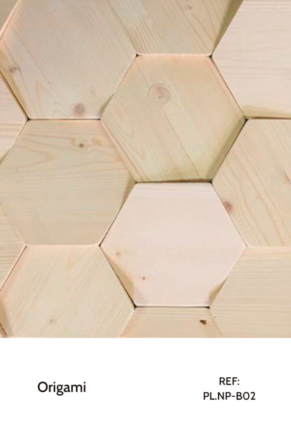 The PL.NP-B02 is a design that used pine hexagons with a simple, clear and light tonality. A decorative wood panel design for application on walls.
