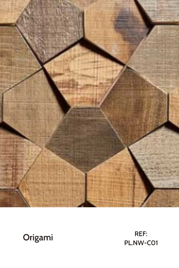 The PL.NW-C01 is a reference of the Origami collection that uses hexagons in unusual tilted shapes to create micro-patterns that rearrange themselves into bigger patterns. A decorative wood panel design for application on walls.