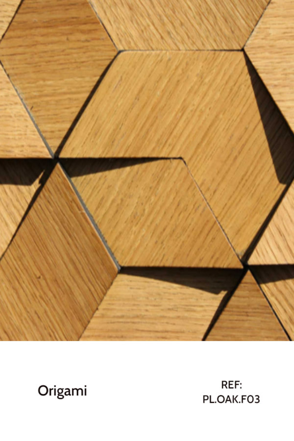 The PL.OAK-F03 is a reference of the Origami collection with a oak veneer finish. Composed of a arrow piece and different diamond-shaped pieces, this panel has a complex geometrical pattern that doesn't seem complex. A decorative wood panel design for application on walls.