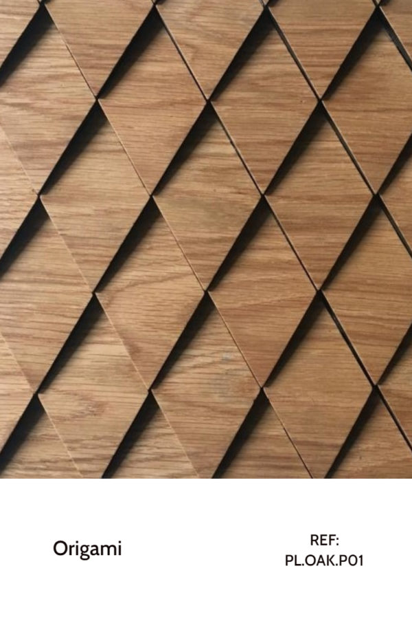 The PL.OAK-P01 is a Origami collection reference that makes use of perfectly cut pieces and a oak veneer finish. This pattern resembles scales in a arranged way, creating a perfect seamless design in a vertical or horizontal orientation. A decorative wood panel design for application on walls.