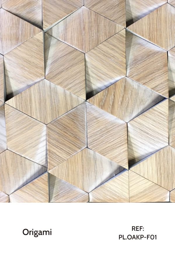 The PL.OAKP-F01 is a design that uses different wood triangles with a patina finish. These triangles are arranged in a way that they create a sorte of hexagonal shape with the two other connectors, with a tunnel bottom. A decorative wood panel design for application on walls