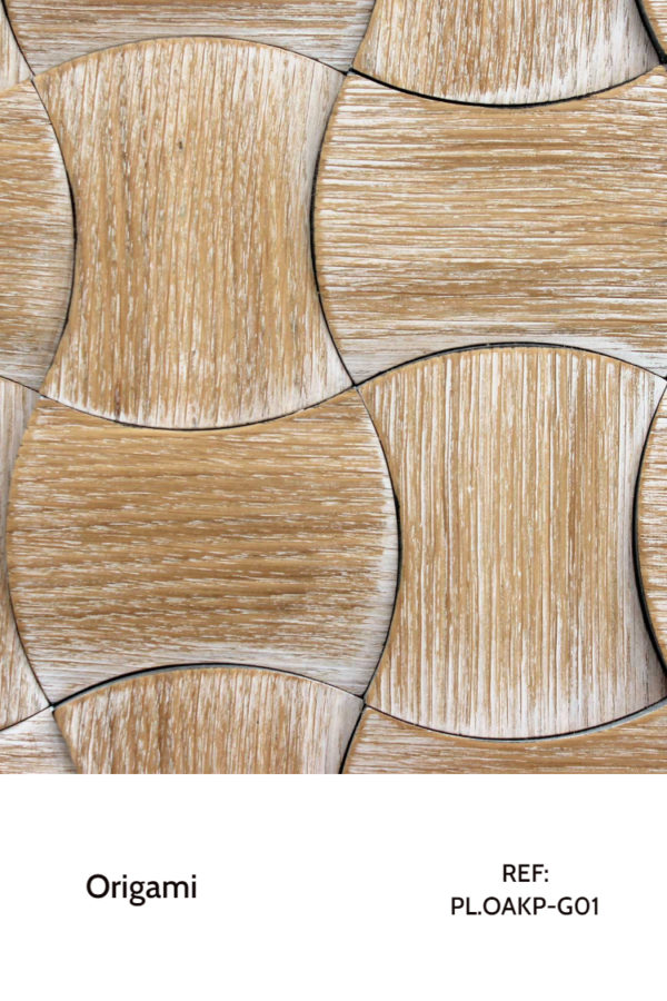 The PL.OAKP-G01 is a decorative wood panel that belongs to the Origami collection. With individual pieces with moon-like shapes, this design features a white patina finish that works the edges of each piece, creating a seamless and interesting pattern.
