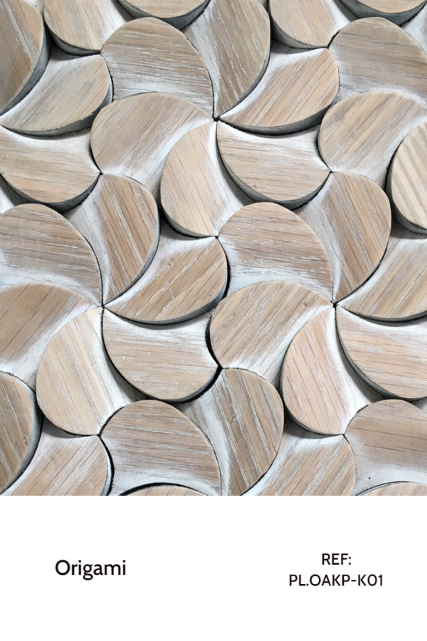 The PL.OAKP-K01 is a design that resembles flower petals, mimicked throughout a whole wall. This design is meant to completely cover a decorative wall design, creating a sort of white finished wood panel with a seamless design.