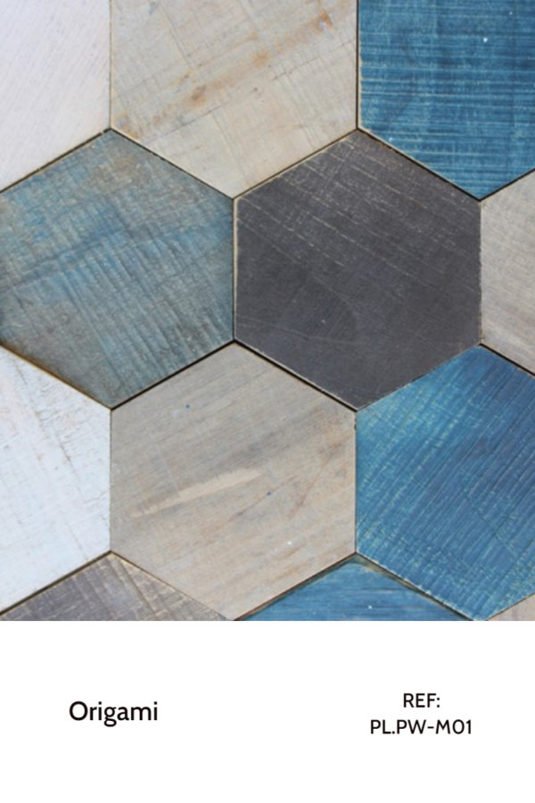 The PL.PW-M01 is a Origami collection reference that uses wood with a vintage look in different painted tonalities, some already used, some fresh painted. This decorative wood panel design uses blue, brown, white and light brown tonalities in a hexagonal shape to create a different contrast between pieces and a simple, light and calm environment.