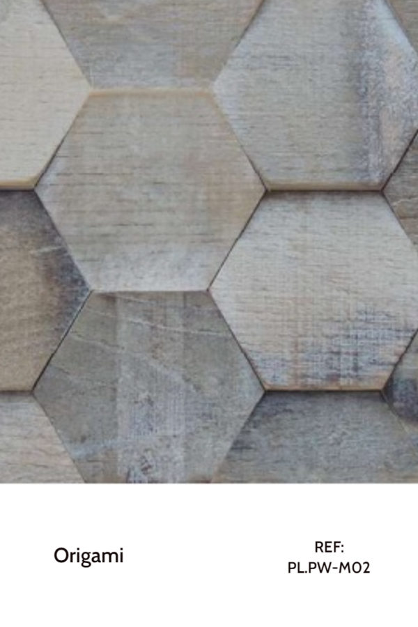 The PL.PW-M02 is a design that uses natural, hexagonal wood pieces to create a sensation of movement throughout a wall. A decorative wood panel design for application on walls.