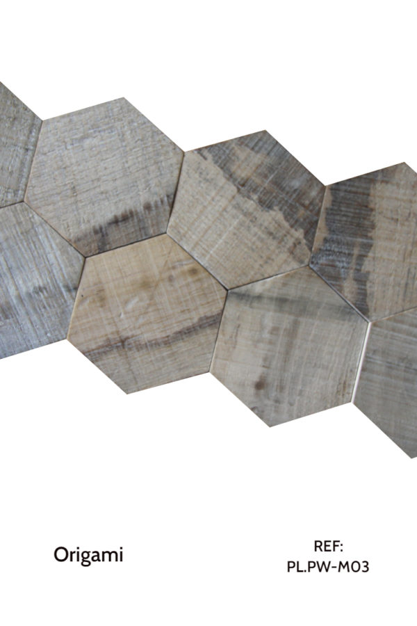 The PL.PW-M03 is a design that uses natural, hexagonal wood pieces to create a sensation of movement throughout a wall. A decorative wood panel design for application on walls.