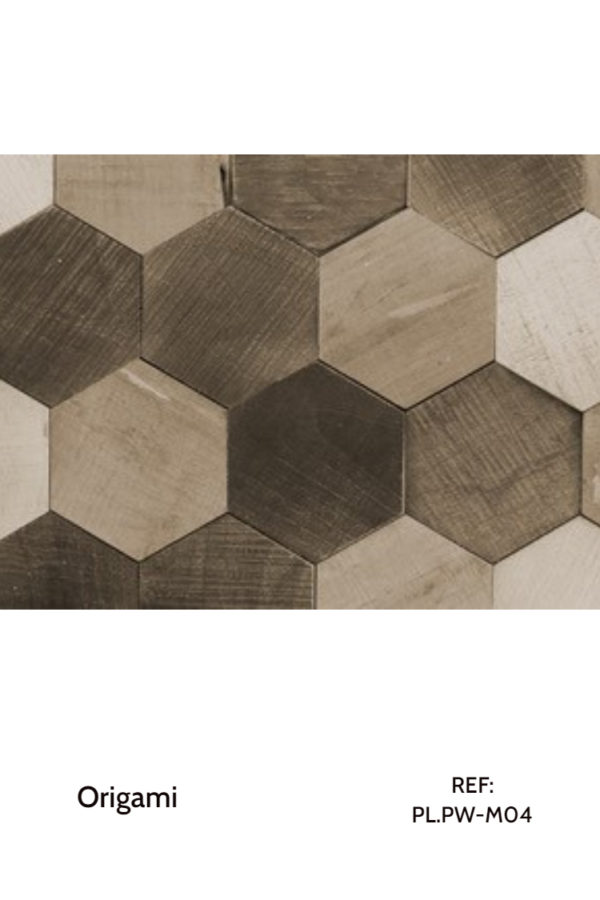 The PL.PW-M04 is a design that uses natural, hexagonal wood pieces to create a sensation of movement throughout a wall. A decorative wood panel design for application on walls.