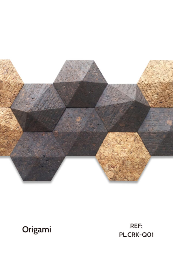 The PL.CRK-Q01 is a design of the Origami collection that uses hexagonal shapes with a tridimensional touch, as well as agglomerated cork with sound insulating properties. We use two types of cork to create a contrast between pieces. A decorative wood wall panel design for application on walls.