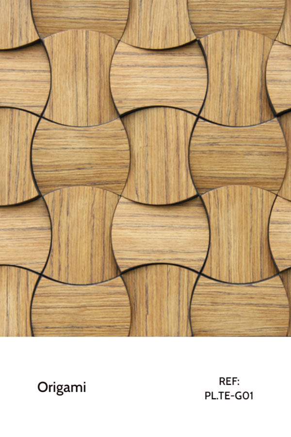 The PL.TE-G01 is a Origami collection reference that uses round shapes and big pieces to differentiate an interior project. Using a clear, light veneer of teak wood, this piece is perfect for commercial and contracting spaces. A decorative wood panel design for application on walls.