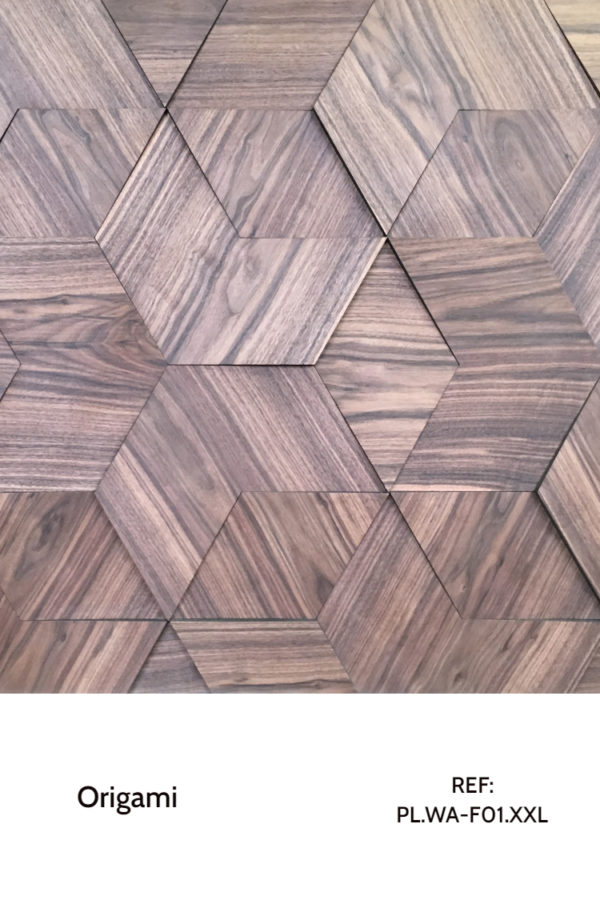 The PL.WA-F01-XXL is a design that uses wood veneers and simple shapes to create a complex but interesting pattern. A decorative wood panel design for application on walls with geometric shapes.