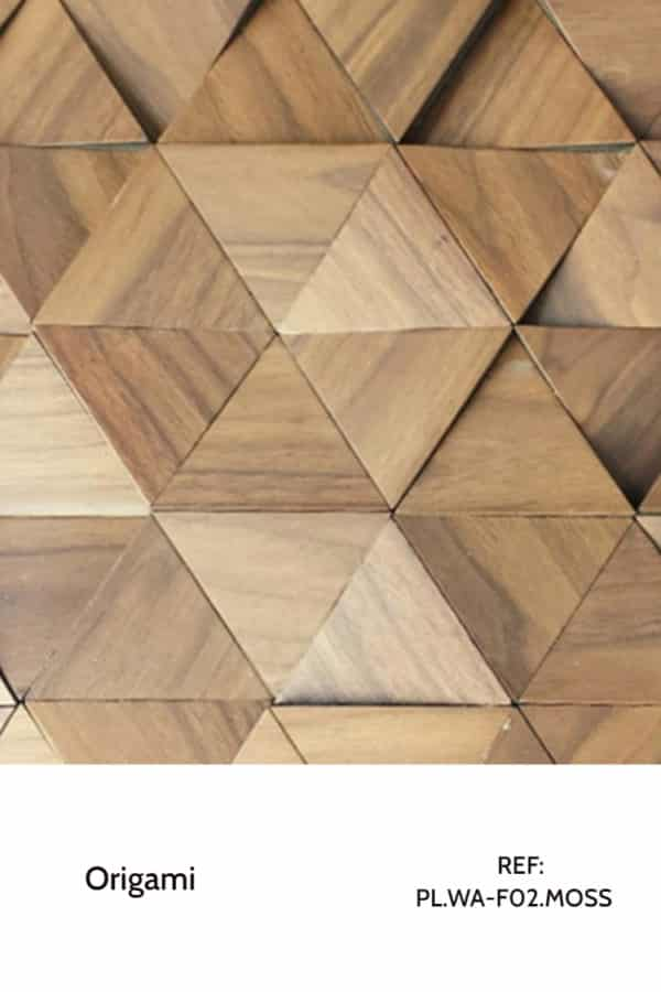 The PL.WA-F02 is a design that uses a dark-coloured veneer and tilted triangles with a geometric effect to design unusual walls in a chiq, modern and classy way. A decorative wood panel design for application on walls and furniture.