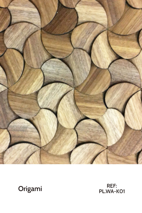 The PL.WA-K01 is a design that resembles flower petals, mimicked throughout a whole wall. This design is meant to completely cover a decorative wall design, creating a sort of unfinished wood panel with a seamless design.
