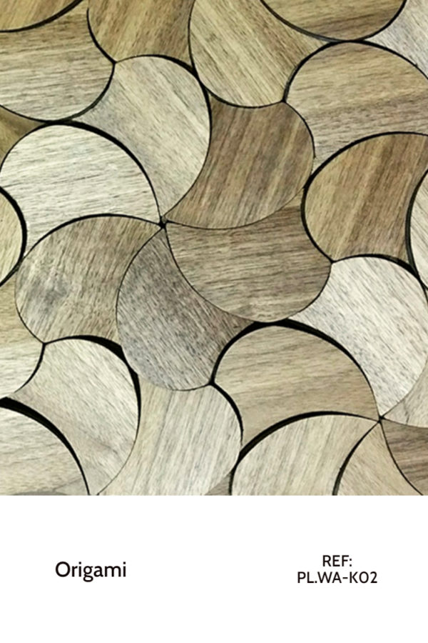 The PL.WA-K02 is a design that resembles flower petals, mimicked throughout a whole wall. This design is meant to completely cover a decorative wall design, creating a sort of unfinished wood panel with a seamless design.